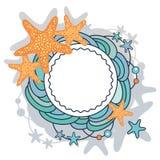 Vague et étoiles - cadre de mer sur le champ blanc Photos stock