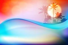 Vague et île d'eau bleue avec des palmiers Photo stock