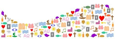 Vague faite de symboles chrétiens Photo stock