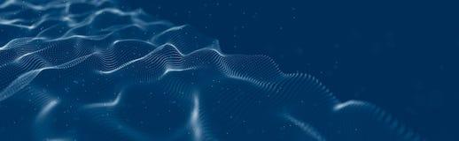 Vague musicale des particules Connexions structurelles saines Fond abstrait avec une vague de particules lumineuses Vague 3d photos stock