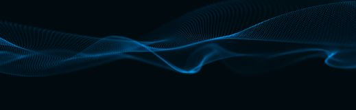 Vague musicale des particules Connexions structurelles saines Fond abstrait avec une vague de particules lumineuses Vague 3d illustration stock
