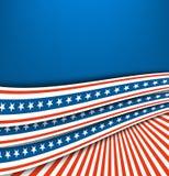 Vague patriotique de ondulation rouge blanche bleue abstraite de drapeau de ruban, Jour de la Déclaration d'Indépendance de vecte illustration stock