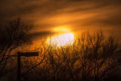 A vague sun. A hazy sunset in Brooklyn Park, Minnesota Royalty Free Stock Photography