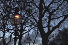Vague twilight. A gloomy lantern, holding a strong light amid the shadows of the twilight Stock Photo