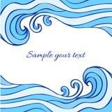 Vagues bleues abstraites de mer d'isolement sur le fond blanc, illustration de graphique de vecteur, cadre décoratif avec l'espac illustration de vecteur