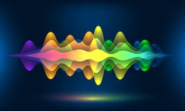 Vagues colorées de voix ou fréquence saine de mouvement Fond d'énergie de bande sonore ou visualisation abstrait de couleur de mu illustration de vecteur