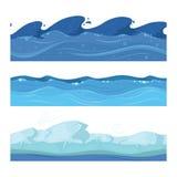 Vagues d'eau d'océan ou de mer Ensemble de vecteur de modèles sans couture horisontal pour des jeux d'ui illustration de vecteur