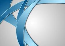 Vagues d'entreprise bleues abstraites sur le fond gris Photo libre de droits
