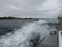 Vagues d'un bateau Photos libres de droits