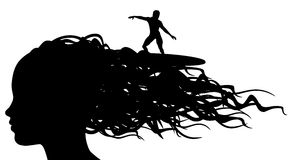 Vagues de cheveux illustration de vecteur
