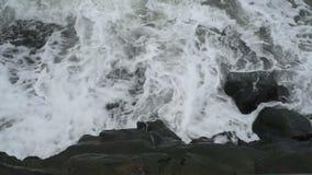 Vagues de la Mer Noire lavant le rivage de Constanta banque de vidéos