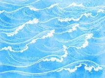 Vagues de mer d'aquarelle illustration stock