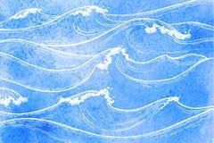 Vagues de mer d'aquarelle illustration libre de droits