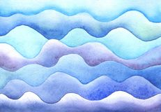 Vagues de mer d'aquarelle illustration stock