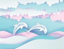 Vagues de mer et couples de papier des dauphins Vec profond de style coupé par papier illustration de vecteur