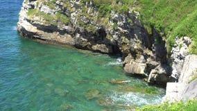 Vagues de turquoise d'océan se brisant contre une plage en pierre un jour ensoleillé banque de vidéos