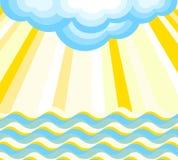 Vagues, rayons et nuage Illustration de vecteur Photo stock