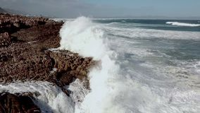 Vagues se cassant sur le littoral rocheux banque de vidéos