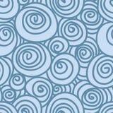 Vagues tirées par la main et modèle sans couture de vecteur de spirales Photographie stock libre de droits