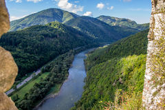 Vah river from Strecno old castle in northern Slovakia. Vah river from a ruin of a medieval castle in Strecno northern Slovakia stock photos