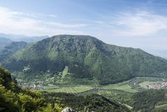 Vah river valley with Stankovany and Kralovany villages and Kopa hill above in Slovakia. Vah river valley with Stankovany and Kralovany villages, nearest Kopa stock photo