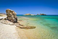 Vai海滩蓝色盐水湖在克利特的 库存图片