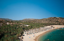 Vai. View on a one of the most famous beaches in Crete Stock Image