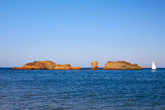 Vai beach. Beautiful rock before sunset on Vai beach, Crete Royalty Free Stock Images