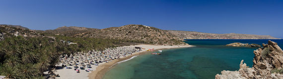 Vai beach Crete island. Vai beach in Crete island surrounded by the Palm Tree forest Royalty Free Stock Photos
