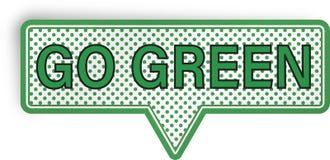 Vai a bolha verde do discurso isolada no branco Imagem de Stock Royalty Free