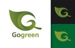 Vai a folha verde Logo Design imagem de stock royalty free