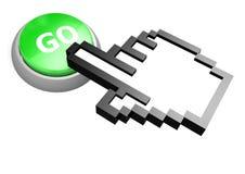 Vai o botão com cursor da mão Imagens de Stock Royalty Free
