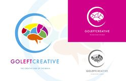 Vai o cérebro criativo esquerdo impulsiona sinais fotografia de stock royalty free