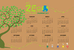 Vai o calendário zero 2017 Fotos de Stock Royalty Free