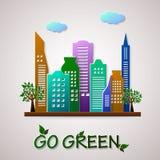 Vai o molde verde do projeto Ilustração do planeta de Eco Fotos de Stock