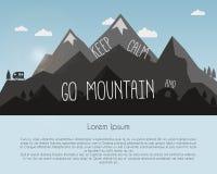 Vai o projeto de conceito da montanha Curso ao ar livre ilustração royalty free