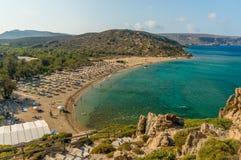 Vai palmtrees  beach at Crete island in Greece Stock Photos