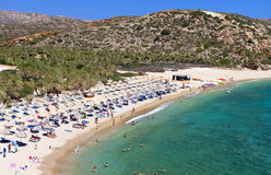 Vai plaża przy Crete wyspą w Grecja Zdjęcia Stock