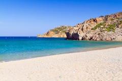 Vai strand med den blåa lagun på Kreta Arkivfoto