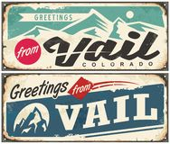 Vail Colorado retro souvenir from winter holiday destination. Vintage greeting card template from Vail USA. Vector illustration stock illustration