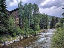 Vail Colorado. River in the little town of Vail Colorado Stock Photo