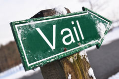 Vail road sign. Agains winter road Stock Images