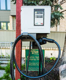 Vail, USA - September 10, 2015: A Tesla charger by a hotel in Vail, Colorado Royalty Free Stock Image