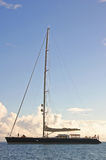 Vaimiti. Photo of our sailing yacht Vaimiti moored in a tranquil bay in French Polynesia Royalty Free Stock Photos