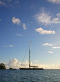 Vaimiti 2. Photo of our sailing yacht Vaimiti moored in a tranquil bay in French Polynesia Royalty Free Stock Photos