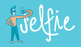 Vain man taking a selfie next to the word. Cartoon illustration of a vain man taking a selfie next to a big word Royalty Free Stock Photo