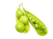Vaina del guisantes verdes y fruta fotos de archivo