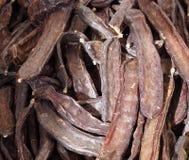 Vainas secadas de la algarroba para la venta en Loule Portugal Imagen de archivo libre de regalías
