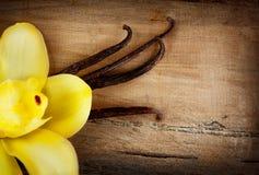Vainas y flor de la vainilla sobre la madera Foto de archivo libre de regalías