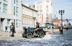 Vainerastraat in het centrum van Yekaterinburg op 5 April, 2013. Stock Afbeeldingen